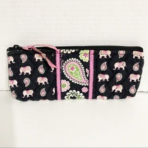 Vera Bradley Pink Elephant Brush and Pencil Case